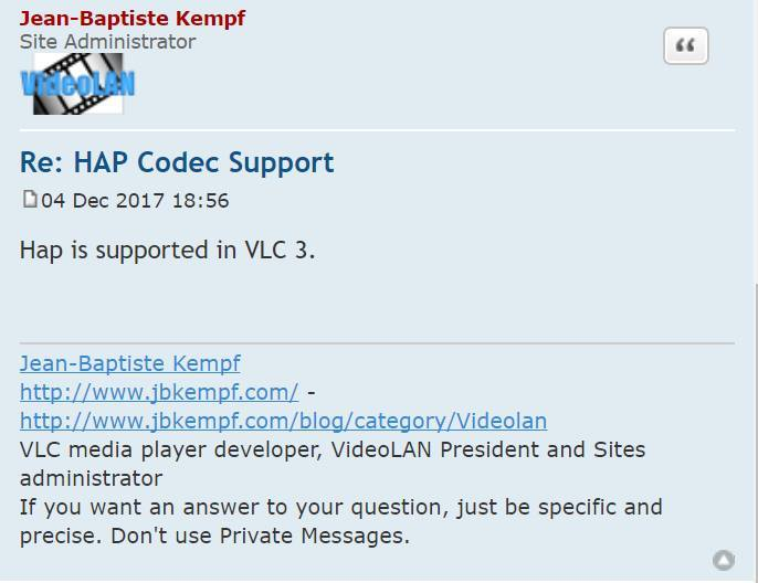 HAP support for VLC announced? - general - Forum